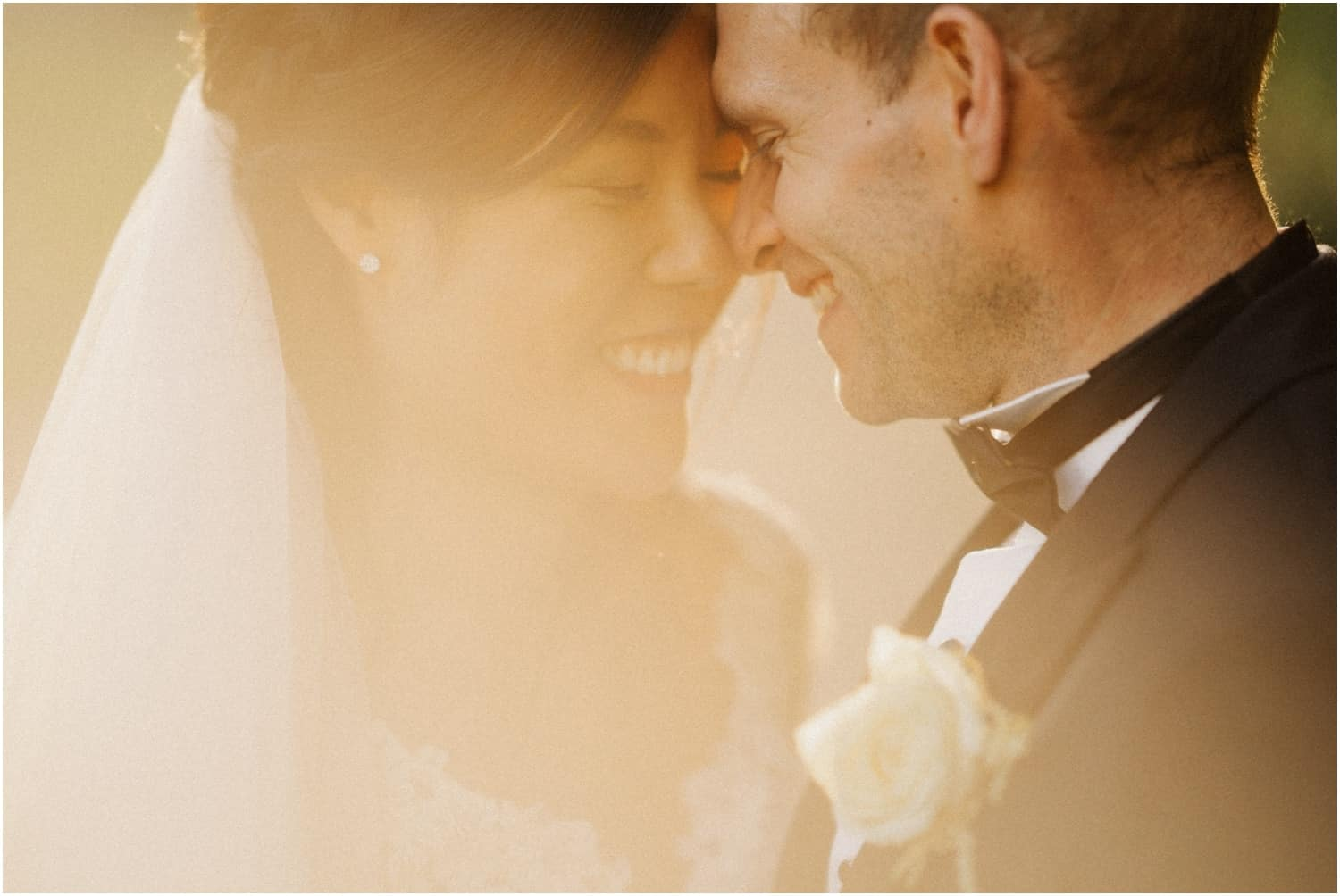 A newly married couple pose in late afternoon light at a beautiful De Vere Beaumont Estate wedding